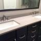 master bathroom remodel, dark cabinets, quartz counter top, walk in shower, glass shower door, under mount sinks, framed mirror