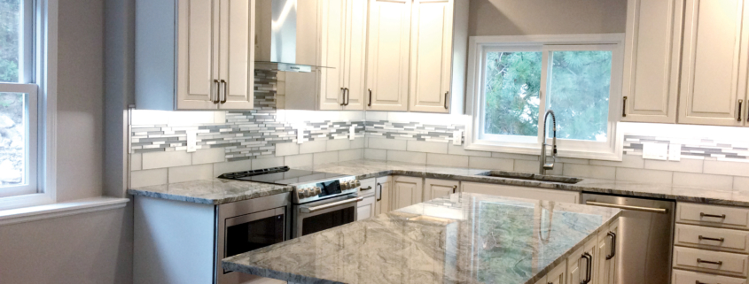 kitchen remodel, whie cabinets, granite counter tops, stainless steel appliances, glass tile backsplash, can lights