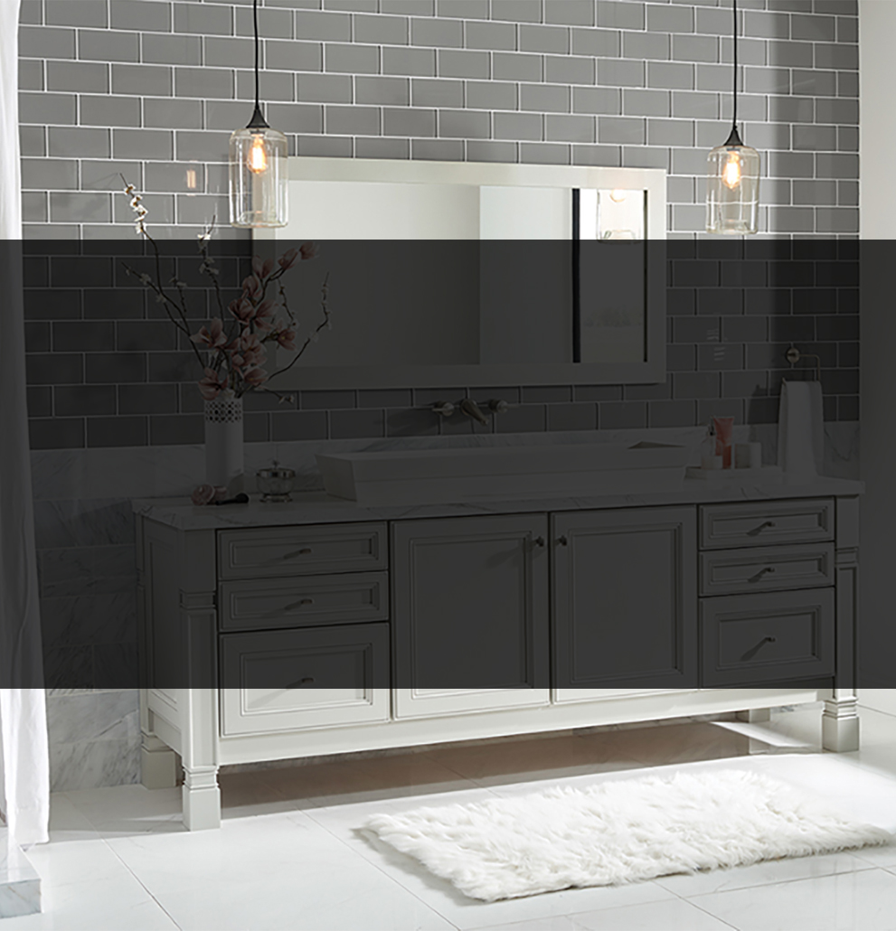 grey subway tile with white grout bathroom