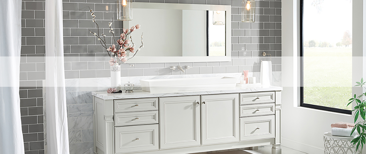 grey subway tile with white grout bathroom with white vanity