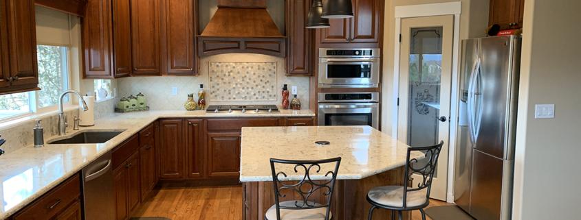 kitchen remodel, traditional kitchen, quartz counter tops, undermount sink, cherry cabinets, wood floors, custom backsplash, stainless steel appliances, walk in pantry