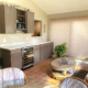 sun room remodel, wet bar, bar remodel, wine fridge, dark wood cabinets, shaker cabinets, wine glass storage, quartz counter tops