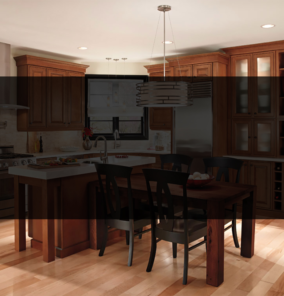 kitchen remodel wood cabinets white counter tops black chairs