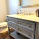 bathroom remodel, Gray bathroom vanity, undermount sink, brushed nickel faucet, quartz counter top