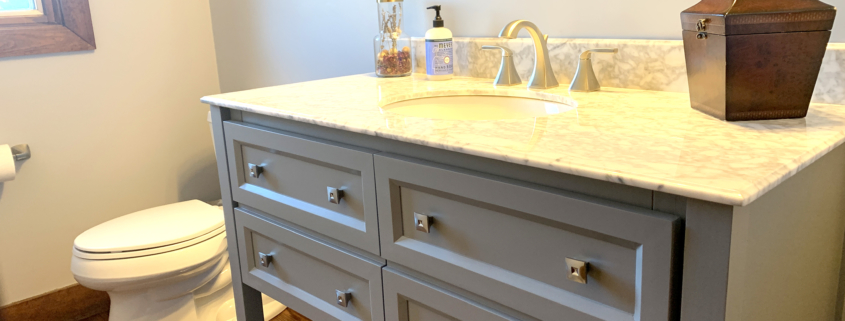 bathroom remodel, Gray bathroom vanity, undermount sink, brushed nickel faucet, quartz counter top